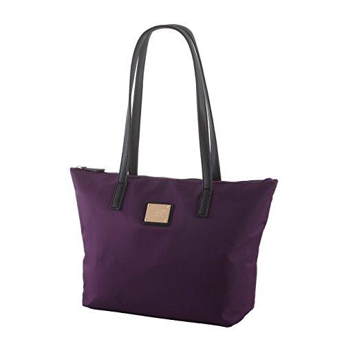 L.CREDI Shopper/große Handtasche 5741 aus Nylon in verschiedenen Farben (lila)