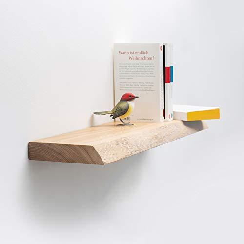Rikmani Wandregal Holz Eiche massiv Natur - Handgefertigtes Regal mit Baumkante Bücherregal Holzregal Wandboard 130 cm x 20 cm x 4 cm