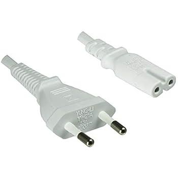 Netzstecker auf Euro 8 C7 Stecker weiß InLine® Netzkabel 0,5m