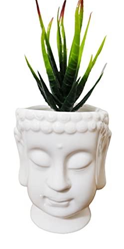 Cute Cartoon Buddha Head Shaped Succulent Cactus Flower Pot/Plant Pots/Planter/Container for Home Garden Office Desktop Decoration (Plants Not Included) (White)
