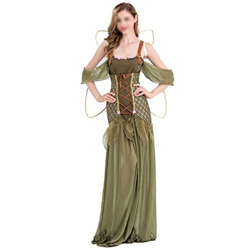 NASTON Disfraz de Cosplay de Halloween, Disfraz de Escenario de ostume de Princesa de Bosque de Hadas,Verde,L
