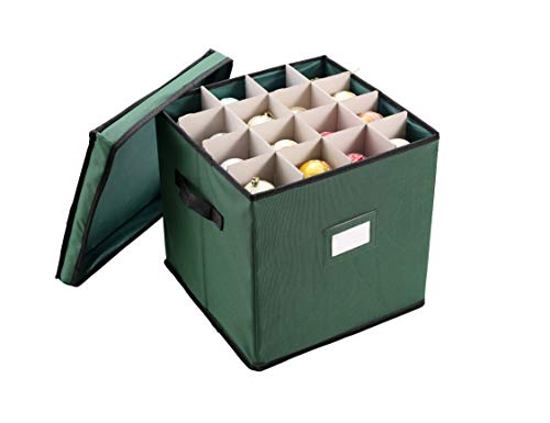 Christmas Ornament Storage Box with Adjustable Dividers, Hold Up to 64 Ornaments Balls & Christmas Accessories, Ornament Storage Container with Protective Lid, Two Handles & Card Slot (Green)
