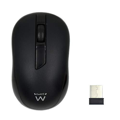 Ewent EW3223 Mouse Wireless con Sensore Ottico da 1000 dpi, Ricevitore Nano USB, Nero