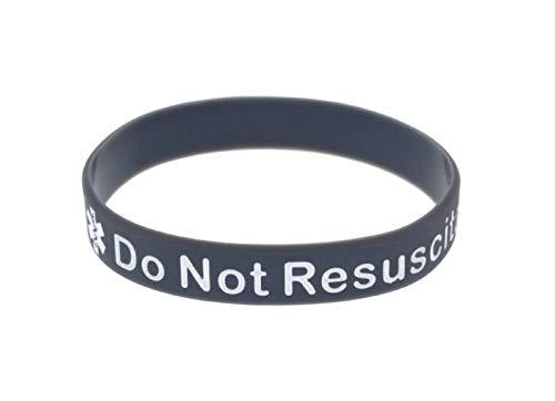 x2 Do Not Resuscitate DNR Bracelet Silicone Wristband Medical Alert (Gift Box Goodies) UK Seller (x2 Grey)