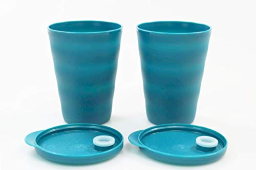 Tupperware Trinkhalmbecher Junge Welle 330 ml (2) türkisgrün Trinkhalm Becher 38045