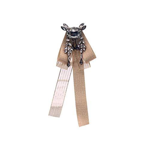 Gespout Corbata de Lazo Collar Flor Mujer Rhinestone Universidad Viento Broche Boda Collar Flor Casual Cinta Ropa