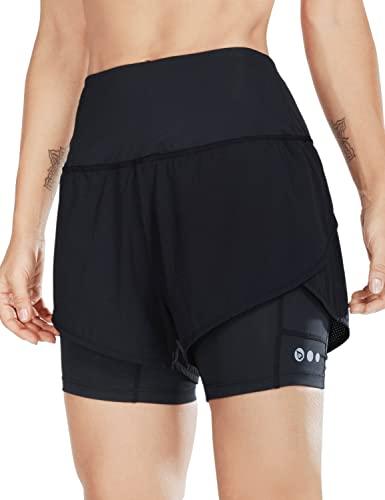 BALEAF Women's 2 in 1 Running Shorts High Waist with Pockets Workout Gym Shorts Liner Black M