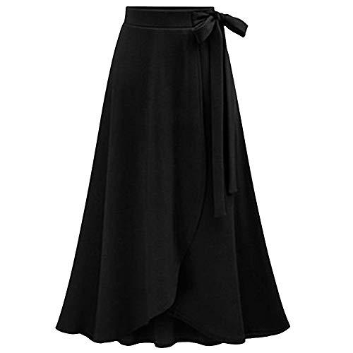 CICIYONER Frauen Rock Damen Mode-hohe Taillenrock-weiblicher unregelmäßiger aufgeteilter Bandrock-Langer Rock