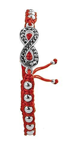 PAPOLY Pulseras de Macramé en Color Rojo, Bolas y Medallonson de Plata DE Ley 925 con Swarovski Crystal,Se Ajusta fácilmente.M.Rojo (Infinite)