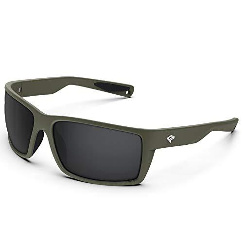 TOREGE Sports Polarized Sunglasses for Men Women Flexible Frame Cycling Running Driving Fishing Mountaineering Trekking Glasses TR24 (Matte Blown Sand& Black& Black Lens)