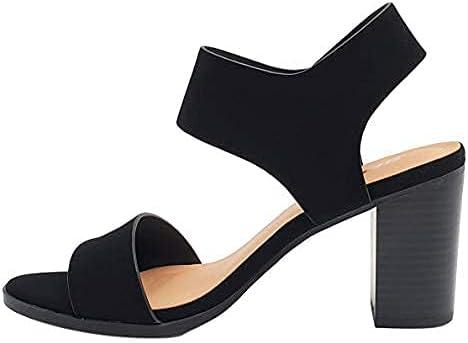 Soda Topshoeave Wait Womens Open Toe Chunky Heel Ankle Strap Shoes Block High Heel Dress Sandals