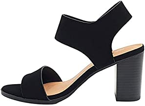 Soda Topshoeave Wait Womens Open Toe Chunky Heel Ankle Strap Shoes Block High Heel Dress Sandals (Black Nubuck, numeric_9)