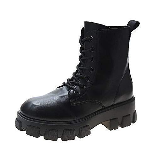 Botas de Combate Mujer Botines con Cordones para Mujer Botas Piel Negras Combate con Cremallera Lateral Combate con Punta Redonda Botine Plataforma Antideslizante Corto Botas Zapatos Moda Otoño In