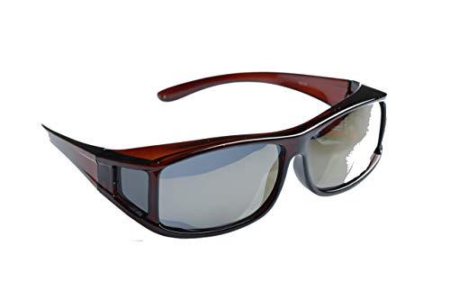 Matecs polarisierte Sonnen-Überziehbrille Braun für Brillenträger UV 400 CAT3 für SIE & IHN
