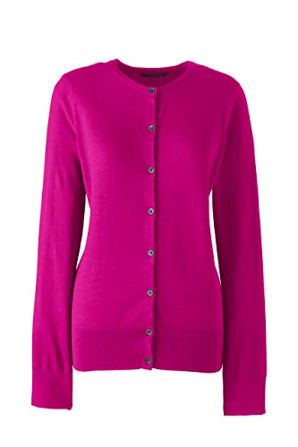 Lands' End Womens Supima Cotton Long Sleeve Cardigan Sweater Bright Magenta Regular X-Large