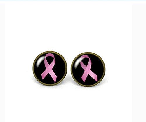 Pendientes de poste de cristal con lazo rosa, concienciación sobre el cáncer de mama.