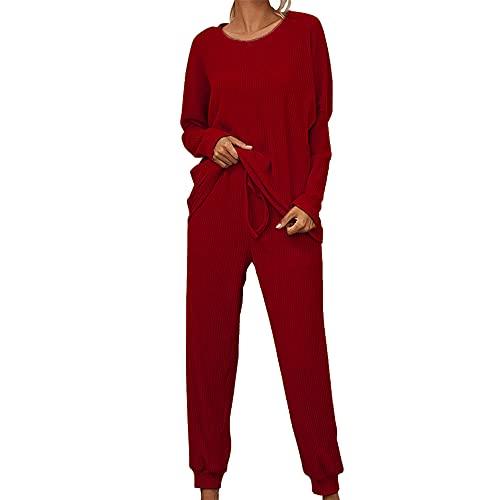 PRJN Conjuntos de Pijamas para Mujer, 2 Piezas, Camiseta y pantalón de Manga Larga, Ropa de Dormir para salón, Ropa de Dormir, Pijama, Pijama para Mujer, Pijama de Manga Larga, Traje Suelto
