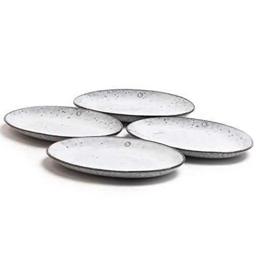 Broste Copenhagen Nordic Sand Lot de 4 assiettes ovales 22 cm sable/gris/beige