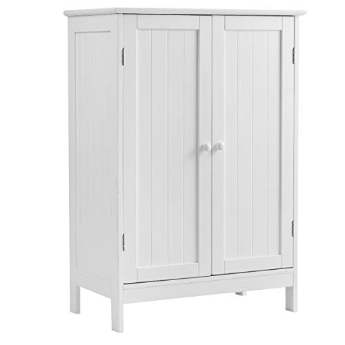 Tangkula Bathroom Floor Cabinet, Wooden Floor Storage Cabinet with Double Doors,for Home Living Room, Modern Home Furniture Free Standing Storage Cabinet, 23.5 x14 x 34 inches (White)