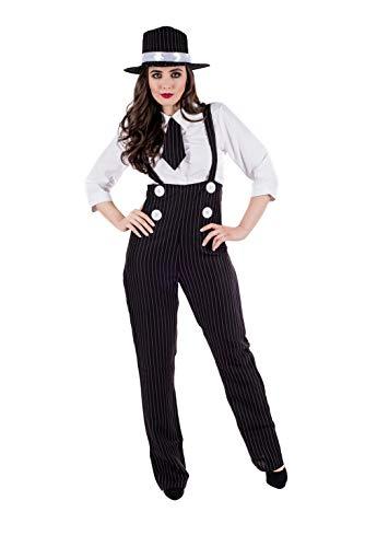 Fun Shack Disfraz de mafioso de los años 20 para Mujer. Traje de gángster con Peto a Rayas, Talla M