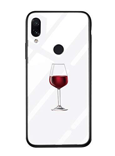 Suhctup Vidrio Templado Case Compatible con XiaomiMiMAX2 Funda Transparente Lindo Dibujos Cristal Templado Trasera Carcasa con Suave Silicona TPU Bumper Anti-Amarilla Cover,Copa Vino