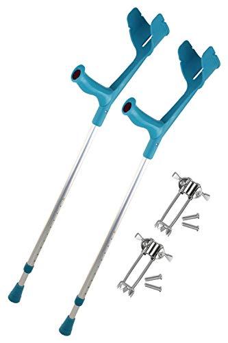 REBOTEC SOFT-GRIP Gehhilfe made in Germany Paar Unterarm-Gehstütze Krücke mit Eiskralle (Farbe: türkis)