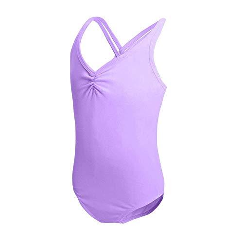 HiDance Ballet Leotards, Cotton Camisole Ballet Leotards for Girls/Toddlers/Kids, Double Strap Gymnastics and Ballet Dancewear Purple 5XL(11-12 Years)