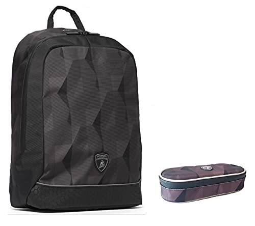 Mochila escolar compatible con Lamborghini redonda negra y gris tiempo libre + estuche ovalado con cremallera + llavero silbato + bolígrafo con purpurina