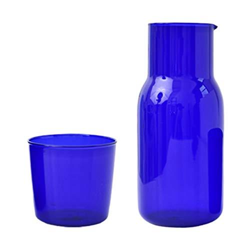PIXNOR 1 Juego de Taza de Vidrio Y Hervidor de Agua Juego de Jarra de Agua Y Jarra de Vidrio Transparente Botella Contenedor Tetera con Taza de Vidrio Azul