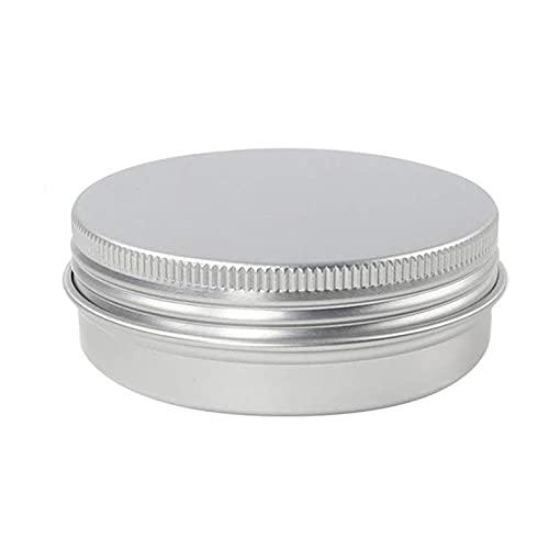 24pcs 60g / 2 ONZAS Metal Aluminio Redondo Lata Caja Caja Vacío Cosmética Crema Jar Estuche Pote Tornillo Tornillo Tapa Línea Bálsamo Contenedor (Specifications : 60g Silver)