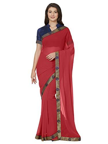 Mirchi Fashion Traditionelle indische Marmor Chiffon Borte Spitze Saree für Frauen mit Kontrastbluse Gr. One size, rot