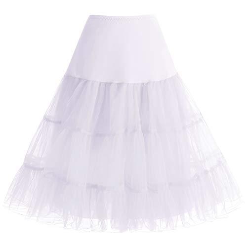 Petticoat Rock Sommerkleid Damen Reifrock Unterrock Petticoat Underskirt Crinoline für Rockabilly Kleid White XL