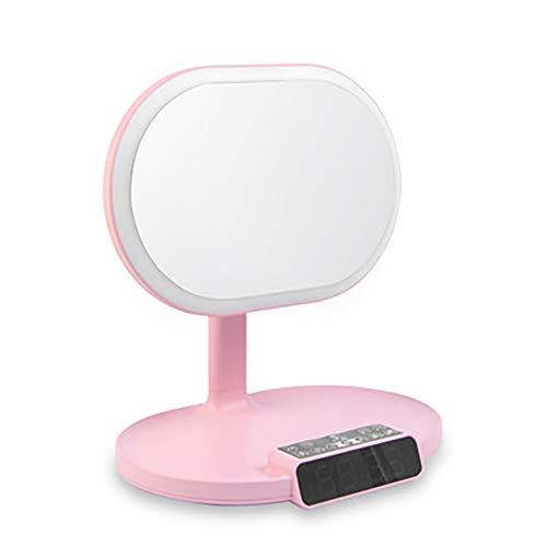 LYA sminkspegel, avgiftsbelagd bordslampa väckarklocka musik-kosmetisk spegel-pek-Bluetooth-högtalare lagring makeup spegel LED-ljus, rosa