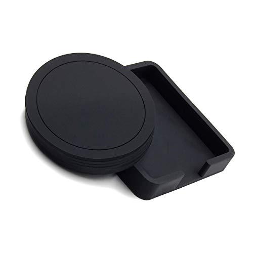Untersetzer, Runde Silikon Gummi Cup Pad 6 Stück Set für Kaffee Bier Becher Schwarz