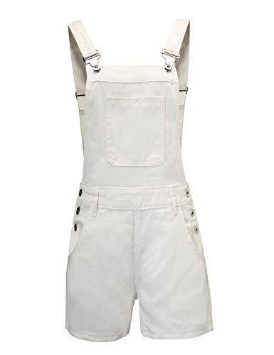 Doublju Women#039s Stylish Denim Pocket Overalls Hot Shorts with Plus Size White M