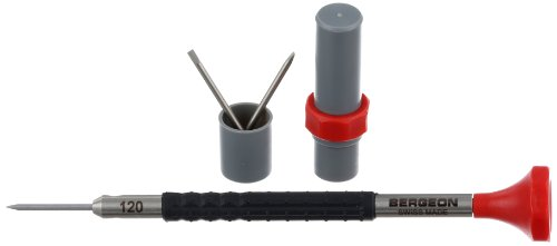 Bergeon 55-684 6899-AT-120 Stainless Steel Ergonomic 1.2mm Screwdriver with Spare Blades Watch Repair Kit