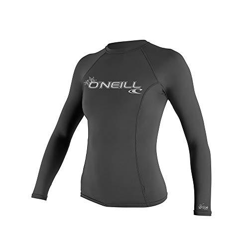 O'Neill dames Basic Skins lange mouwen Crew Rash vest Top Graphite - UV-zonwering en SPF-eigenschappen