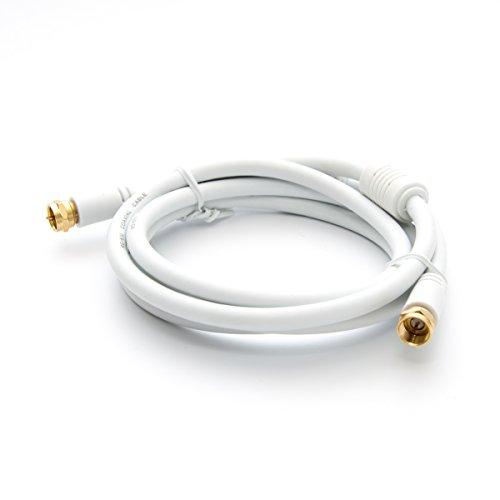 PremiumX 2,5m Basic-LINE SAT TV Antennenkabel F-Anschlusskabel Koaxial-Kabel mit Mantelstromfilter HDTV 4K - Weiß