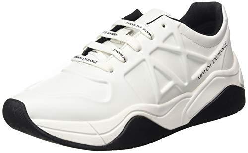Armani Exchange Embossed Lace Up Sneaker, Zapatillas para Niñas, Blanco (Op.White 00152), 35.5 EU