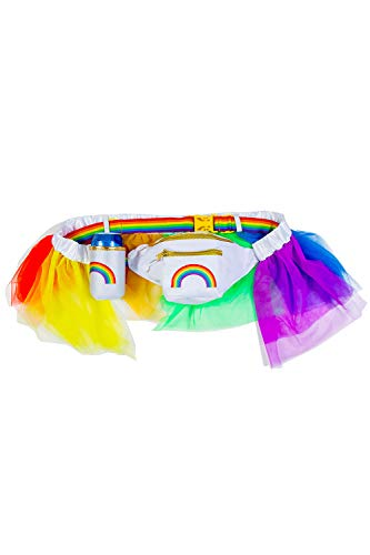 Over The Rainbow Fanny Pack - Colorful Pride Fanny Pack with Rainbow Tutu and Detachable Drink...
