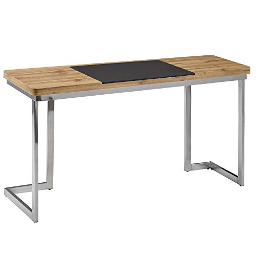 Wohnling Schreibtisch 140x76x55 cm Holz Metall Bürotisch Chrom Home-Office | Breiter Design Laptoptisch | Moderner Computertisch Konsolentisch
