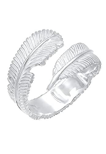 Elli Ring Damen Wickelring mit Feder Look in 925 Sterling Silber