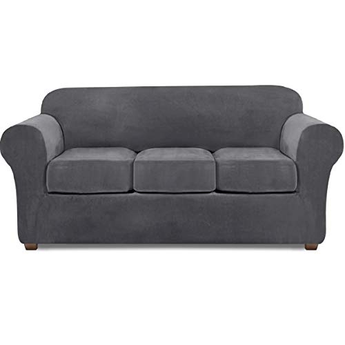 NORTHERN BROTHERS Velvet Couch Covers for 3 Cushion Couch Stretch Sofa Cover 4 Piece Couch Slipcover (Gray)