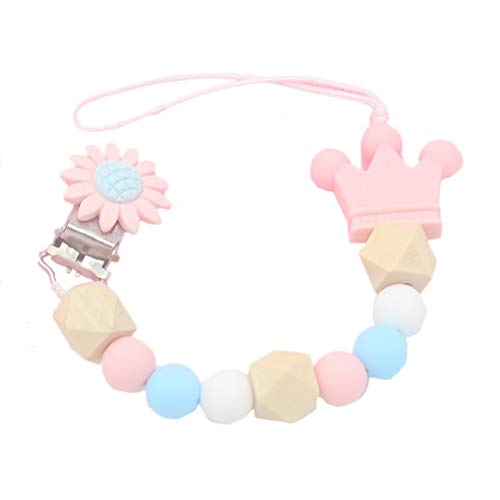 Suszian Dummy Clips for Boys and Girls Soother Chain Holder,Flower Crown Silicone Baby Pacifier Clip Colorful Pacifier Chain for Baby Teething Soother Chew Toy