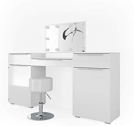 Vicco Schminktisch Lilli Frisiertisch Kommode Frisierkommode Spiegel Weiß inklusive Hocker und LED-Lichterkette