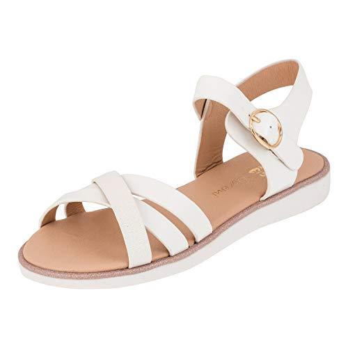 Modische Mädchen Sandalen Sandaletten Kinder Schuhe in Glitzeroptik mit Schnalle M552ws Weiß 34 EU