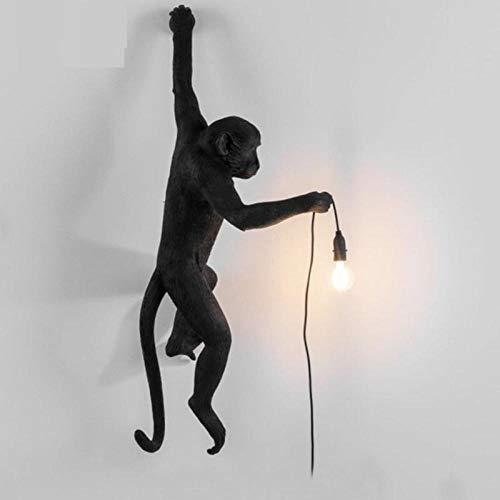 Lampada Monkey Nordic Panda Lampada a sospensione Resina Animale Canapa Corda Lampada a sospensione Lampada a sospensione per Camera dei bambini-Muro di scimmia nera