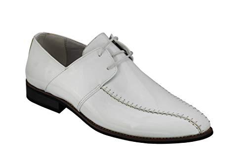 De los Hombres clásicos de Oxford de Encaje hasta los Zapatos de imitación de Cuero de la Oficina de Patentes Brillante Vestido de Novia de Smart Wear [Y2184G-WHITE-44]