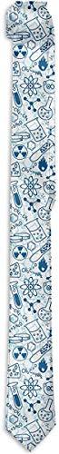 Funny Z Corbata para Hombre Dibujos de Ciencia Diseño Azul Corbatas de Seda de Moda Corbatas de Regalo Únicas