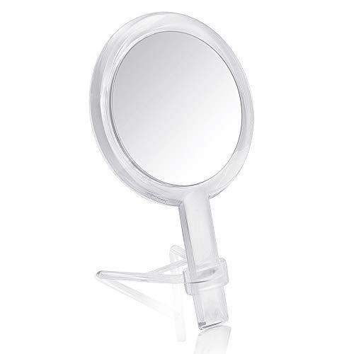 Gotofine Dos Lados Espejo de Mano para Maquillaje con Ampliación 1X y 7X con soporte - Claro y Transparente, calidad Premium (7x)